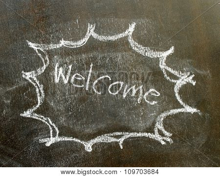 The Word Welcome In Bubble Sign