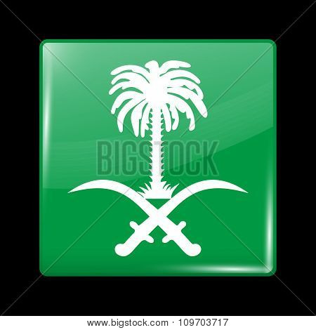 Saudi Arabia Variant Flag. Glassy Icon Square Shape