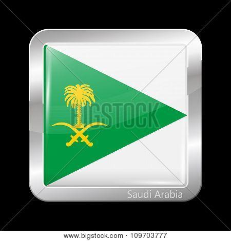 Saudi Arabia Variant Flag. Metallic Icon Square Shape