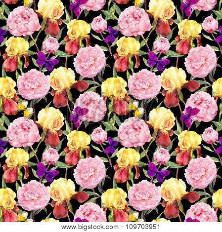 Repeating floral pattern. Peony flowers, irises and butterflies. Watercolor on black background