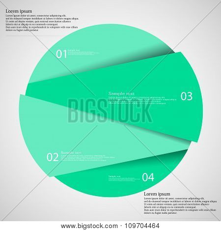 Infographic Template With Green Circle Randomly Divided To Four Parts