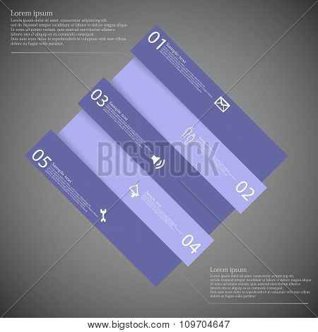 Infographic Template With Purple Rhombus Askew Divided To Five Parts