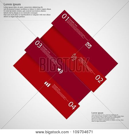Infographic Template With Red Rhombus Askew Divided To Four Parts