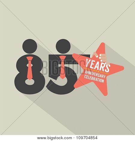 85 Years Anniversary Typography Design.