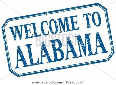 Alabama - Welcome  To Blue Vintage Isolated Label Sign
