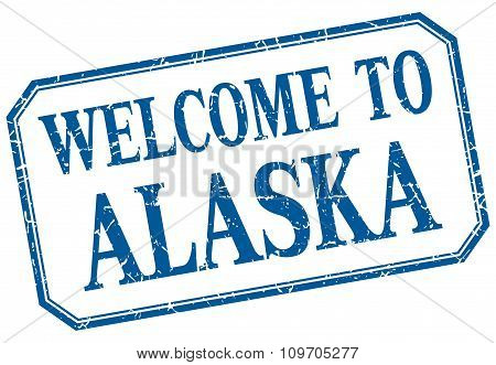Alaska - Welcome  To Blue Vintage Isolated Label