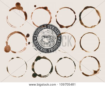 coffee stains isolated on a light background. vector illustration