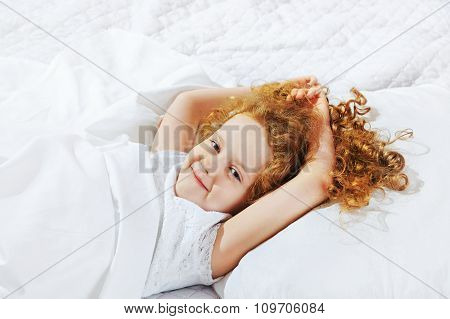 Sweet Little Girl Sleeping In Bed. Medical And Healthy Lifestyle Concept.