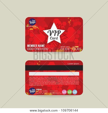 Front And Back Vip Member Card Template.