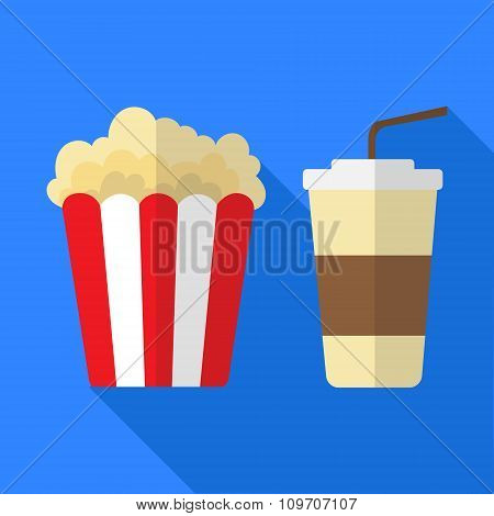 popcorn and fizzy drink