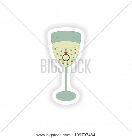 stylish paper sticker on white background glass champagne Ring