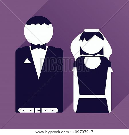 flat icon with long shadow bride and groom