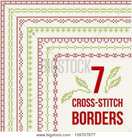 Cross-stitch Embroidery - Seven Thin Borders