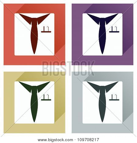 Set of flat icons with long shadow Christmas shirt tie