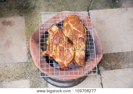 Rare Pork Grilled On Charcoal Brazier