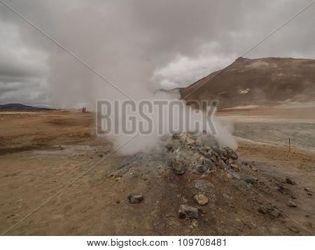 Fumarole At Namaskard Myvatn Iceland