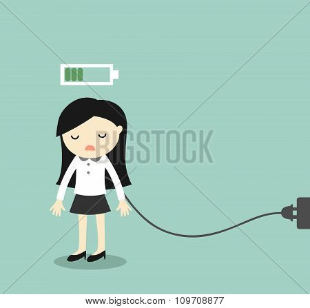 Business concept, Business woman feeling tired and charging battery. Vector illustration.