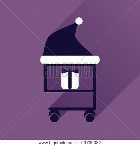 flat icon with long shadow cart with Christmas present