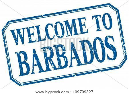 Barbados - Welcome Blue Vintage Isolated Label Sign