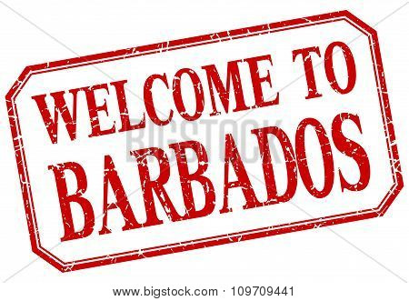 Barbados - Welcome Red Vintage Isolated Label