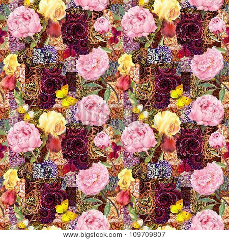 Flowers and indian ornamental design. Watercolor seamless pattern