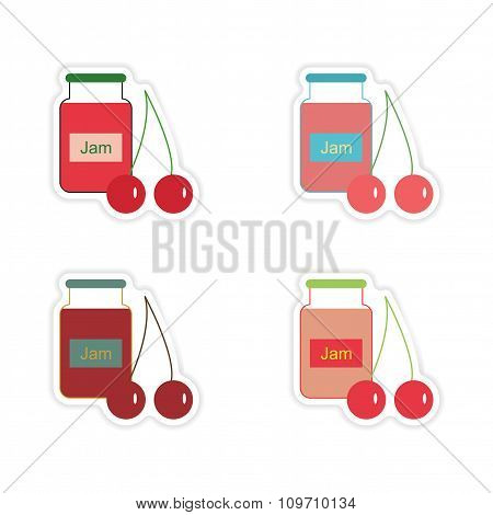 Set of paper stickers on white background Bank cherry jam