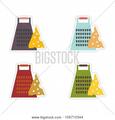 Set of paper stickers on white background Grater cheese