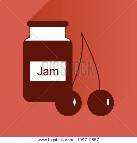 flat icon with long shadow Bank of cherry jam