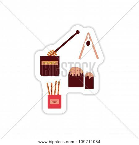 Set of paper stickers on a white background sweet snacks