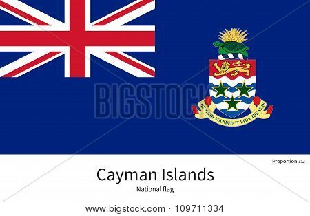 National flag of Cayman Islands with correct proportions, element, colors