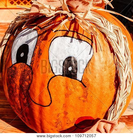 Painted pumpkin with straw braids