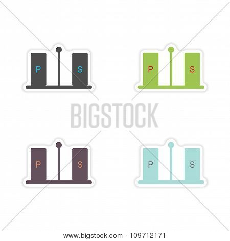 Set of paper stickers on a white background pepper and salt