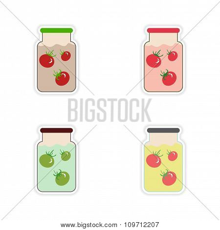 Set of paper stickers on a white background canned tomatoes