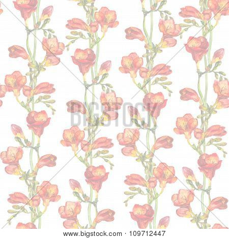 Repeated faded pattern with light floral design - spring branches with delicate red freesias flower