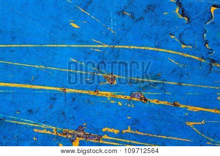 Old blue colored dyes on the wood