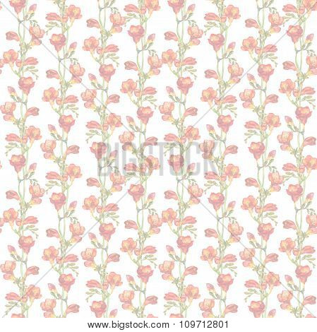 Pastel light repeated wallpaper with faded floral design - red freesias flowers