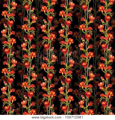 Floral seamless contrast pattern with red freesias flowers on black background