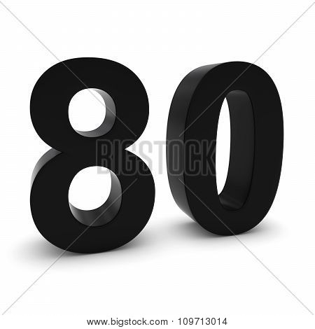 Black 3D Number Eighty Isolated On White With Shadows