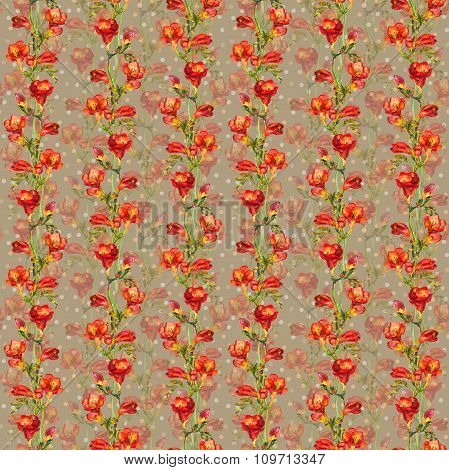 Seamless wallpaper with floral polka design - red freesia flowers with peas