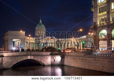 Kazan Cathedral Or Kazanskiy Kafedralniy Sobor At Night, St. Petersburg