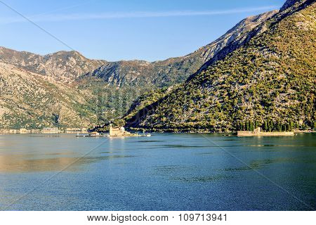 Our Lady Of The Rock Island And Church In Perast On Shore Of Boka Kotor Bay ,montenegro