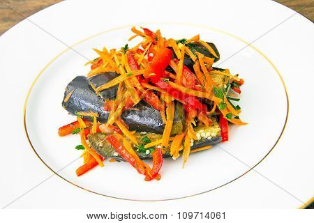 Diet and Healthy Food: Salad with Eggplant, Carrots