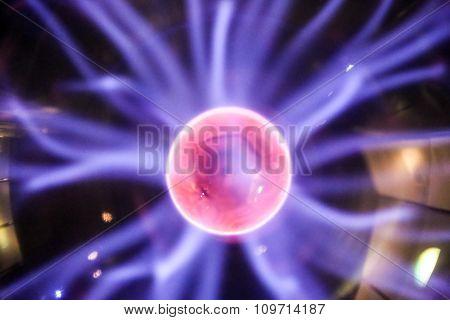 Plasma Ball Lamp Interior With Lightnings