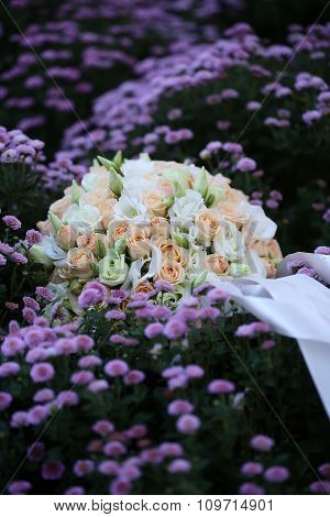 Wedding Bouquet On Flowery Meadow