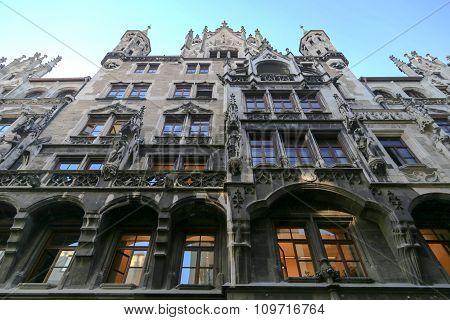 Munich Gothic Cityhall At Marienplatz
