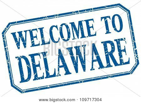Delaware - Welcome Blue Vintage Isolated Label