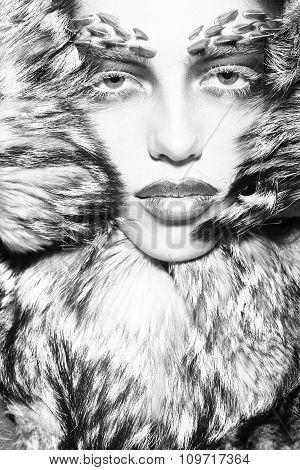 Fashionable Woman In Fur Coat