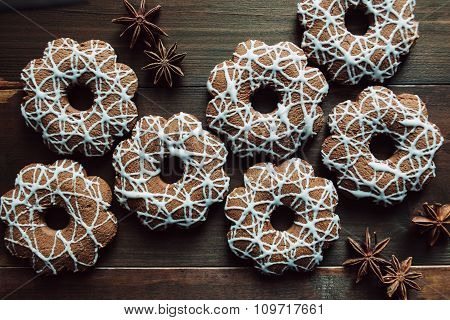 Cookies With Decoration On The Wooden Table