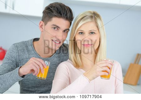 couple drinking juice