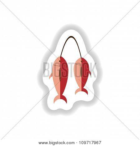 stylish paper sticker of fresh sea fish